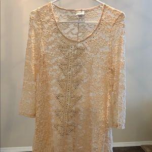 Ladies sheer lace blouse